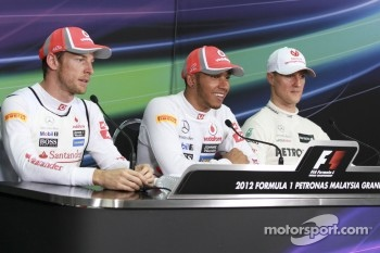Michael Schumacher, Mercedes GP, Lewis Hamilton, Mclaren Mercedes and Jenson Button, Mclaren Mercedes
