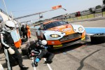 Pit stop for #69 Gulf Racing Aston Martin Vantage: Roald Goethe, Stuart Hall