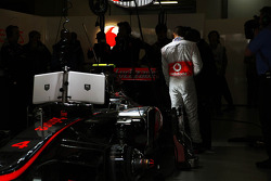 Lewis Hamilton, McLaren Mercedes in the pits with his father Anthony Hamilton