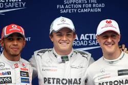 Lewis Hamilton, McLaren Mercedes, Nico Rosberg, Mercedes GP and Michael Schumacher, Mercedes GP