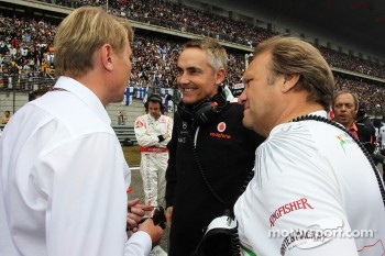 Mika Hakkinen, with Martin Whitmarsh, McLaren Chief Executive Officer and Robert Fearnley, Sahara Force India F1 Team