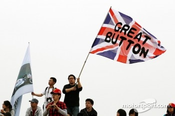 Jenson Button, McLaren fans and flag