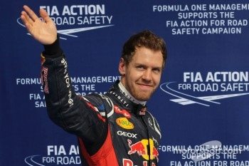 Qualifying results, 1st place Sebastian Vettel, Red Bull Racing