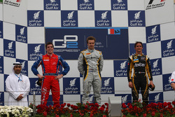 Podium: race winner Davide Valsecchi, second place Luiz Razia, third place Esteban Guttierez