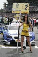 Grid girl of Joey Hand, BMW Team RMG BMW M3 DTM