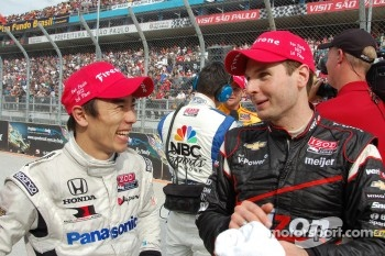 Third place Takuma Sato, Rahal Letterman Lanigan Honda, race winner Will Power, Verizon Team Penske Chevrolet