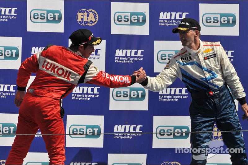 Second place Alexey Dudukalo, SEAT Leon WTCC, Lukoil Racing Team, third place Alain Menu Chevrolet Cruze 1.6T, Chevrolet