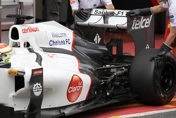 Sergio Perez, Sauber F1 Team running with a F-Duct system on the outside of the bodywork
