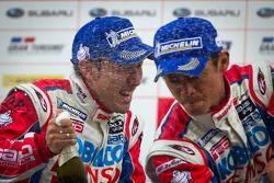 GT500 podium: winners Juichi Wakisaka and Hiroaki Ishiura