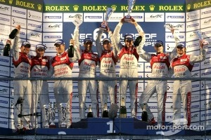 LMP1 Podium: race winners, Romain Dumas, Loic Duval, Marc Gene, second place, Allan McNish, Tom Kristensen, Rinaldo Capello, third place, Oliver Jarvis, Marco Bonanomi