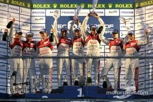 LMP1 Podium: race winners, Romain Dumas, Loic Duval, Marc Gene, second place, Allan McNish, Tom Kristensen, Rinaldo Capello, third place, Oliver Jarvis, Marco Bonanomi