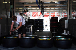 Mercedes AMG F1 mehanic checks Pirelli tyres