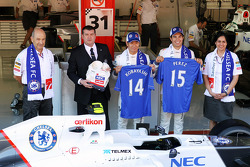 Peter Sauber F1 Team, Sauber F1 Team Team Principal; Monisha Kaltenborn, Sauber F1 Team Managing Director; Ron Gouray, Chelsea Football Club CEO; Kamui Kobayashi, Sauber F1 Team; Sergio Perez, Sauber F1 Team