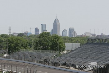 Downtown Indianapolis is seen over the second corner