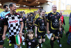 Michael Schumacher, Mercedes AMG F1 and HSH Prince Albert of Monaco, at the charity football match