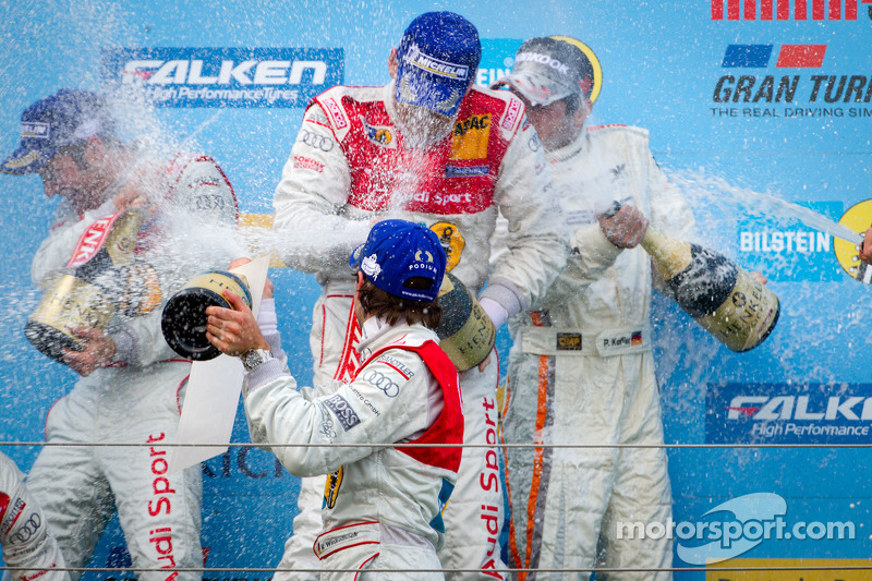 Podium: champagne celebration