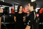 Lee McKenzie, BBC Television Presenter and Jérôme d'Ambrosio, Lotus F1 Team Third Driver at the Fanzone