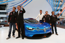 Sebastian Vettel, Red Bull Racing; Carlos Tavares, Renault COO; Laurens Van Den Acker, Renault Industrial Design Director; Christian Horner, Red Bull Racing Team Principal; and Alain Prost, unveil the Renault Alpine A110-50 Concept car on the Red Bull Ene