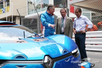 The Renault Alpine A110-50 Concept car is unveiled with Carlos Tavares, COO of Renault and Alain Prost, (Right)