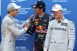 Nico Rosberg, Mercedes AMG Petronas with Mark Webber, Red Bull Racing and Michael Schumacher, Mercedes AMG Petronas