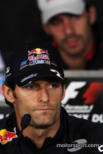 Mark Webber, Red Bull Racing and Jean-Eric Vergne, Scuderia Toro Rosso in the FIA Press Conference