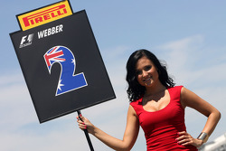 Grid girl, Mark Webber, Red Bull Racing