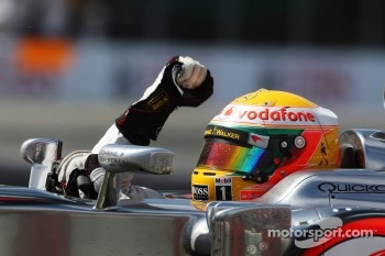 Race winner Lewis Hamilton, McLaren Mercedes celebrates at the end of the race