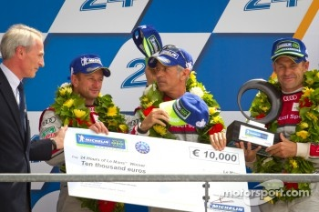 LMP1 podium: Michelin Green X Challenge winners Rinaldo Capello, Tom Kristensen, Allan McNish