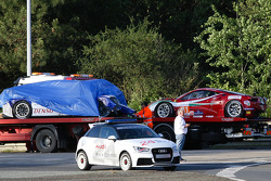 #81 AF Corse Ferrari 458 Italia after the crash