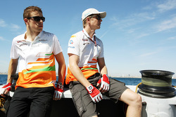 Paul di Resta, Sahara Force India F1 and Nico Hulkenberg, Sahara Force India F1 on the Aethra America's Cup Boat
