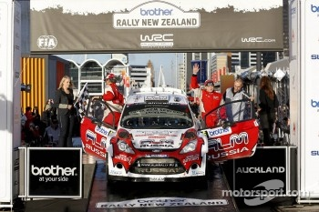 Podium: Evgeney Novikov and Denis Giraudet, Ford Fiesta RS WRC