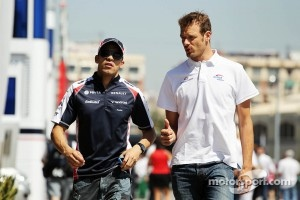 Pastor Maldonado, Williams with Alex Wurz, Williams Driver Mentor
