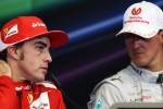 Race winner Fernando Alonso, Ferrari with Michael Schumacher, Mercedes AMG F1 in the FIA Press Conference