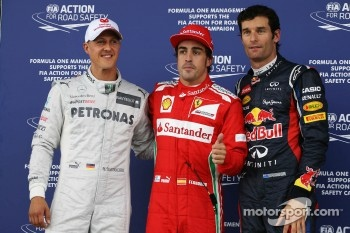 Qualifying parc ferme top three, Mercedes AMG F1, third; Fernando Alonso, Ferrari, pole position; Mark Webber, Red Bull Racing, second