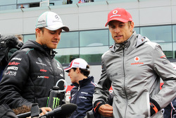Nico Rosberg, Mercedes AMG F1 and Jenson Button, McLaren on the drivers parade