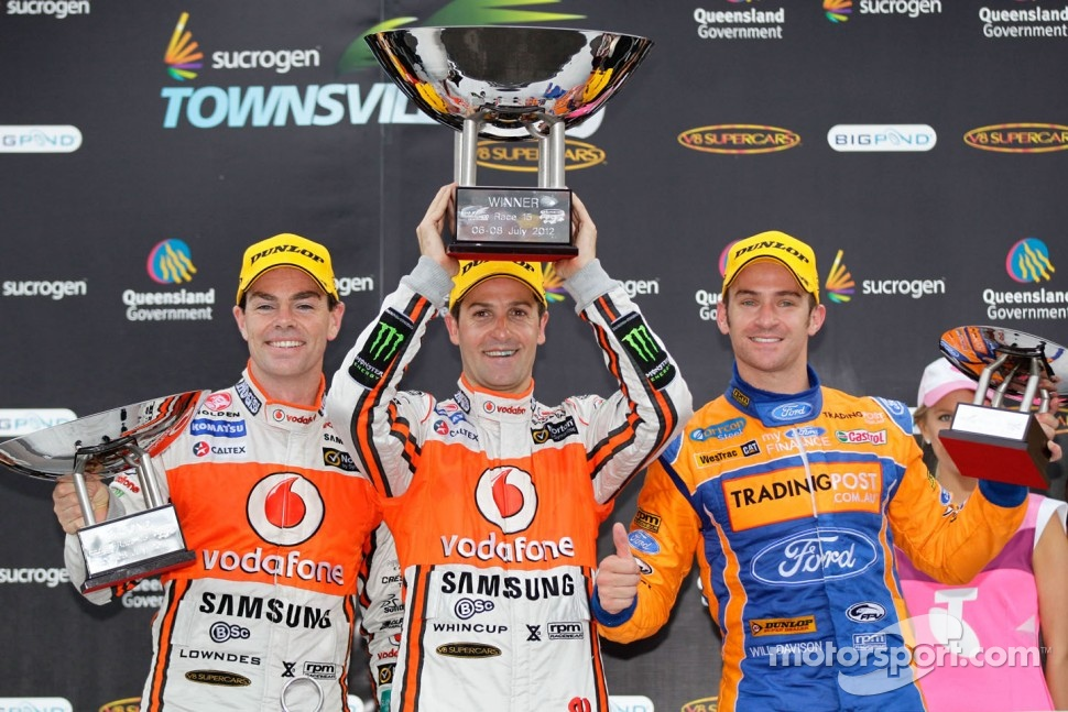 Podium: race winner Jamie Whincup, second place Craig Lowndes, third place Will Davison