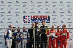 GTE podium: Anthony Pons, Nicolas Armindo, Raymond Narac, James McWirther (team owner JMW) Jonny Cocker, Allan Simonsen, Piergiuseppe Perazzini, Marco Cioci, Matt Griffin