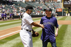 Regan Smith, Furniture Row Chevrolet at a Colorado Rockies baseball game