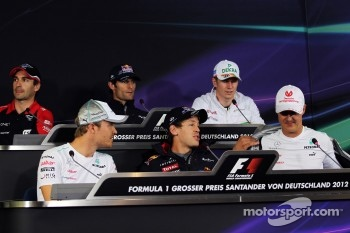 Timo Glock, Marussia F1 Team; Mark Webber, Red Bull Racing; Nico Hulkenberg, Sahara Force India F1; Nico Rosberg, Mercedes AMG F1; Sebastian Vettel, Red Bull Racing; Michael Schumacher, Mercedes AMG F1