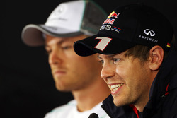 Sebastian Vettel, Red Bull Racing and Nico Rosberg, Mercedes AMG F1 in the FIA Press Conference