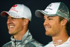 Nico Rosberg, Mercedes AMG F1, and team mate Michael Schumacher, Mercedes AMG F1