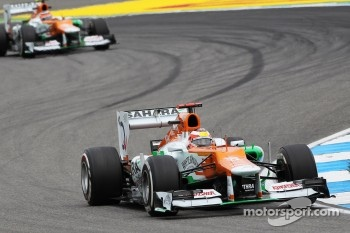 Jules Bianchi, Sahara Force India F1 Team Third Driver leads team mate Nico Hulkenberg, Sahara Force India F1