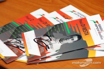 Signed autograph cards of Paul di Resta, Sahara Force India F1