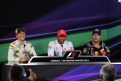 pole position for Lewis Hamilton, McLaren Mercedes 2nd place Romain Grosjean, Lotus Renault F1 Team and 3rd Sebastian Vettel, Red Bull Racing