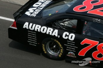 Tribute to the victims of the Aurora, Colorado shooting on Regan Smith's car