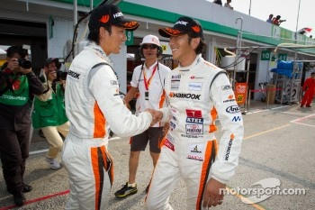 GT300 pole winners Tomonobu Fujii and Masami Kageyama