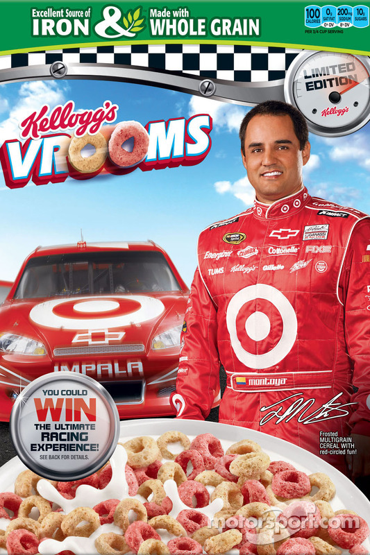 Juan Pablo Montoya on the front of Kellogg's Frosted Flakes cereal box
