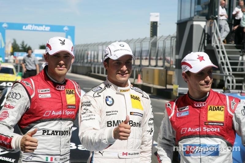 Qualifying, 3rd Edoardo Mortara, Audi Sport Team Rosberg Audi A5 DTM, 1st Bruno Spengler, BMW Team Schnitzer BMW M3 DTM, 2nd Filipe Albuquerque, Audi Sport Team Rosberg, Audi A5 DTM