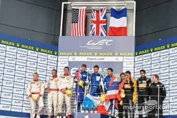 LMP2 podium: winners John Martin, Jan Charouz, Tor Graves, second place Enzo Potolicchio, Ryan Dalziel, Stphane Sarrazin, third place Pierre Ragues, Nelson Panciatici, Roman Rusinov