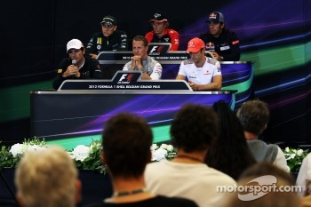 The FIA Press Conference, Caterham; Charles Pic, Marussia F1 Team; Jean-Eric Vergne, Scuderia Toro Rosso; Pedro De La Rosa, HRT Formula 1 Team; Michael Schumacher, Mercedes AMG F1; Jenson Button, McLaren